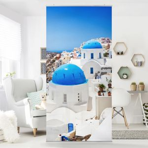 Raumteiler - View Over Santorini 250x120cm, Aufhängung:inkl. transparenter Halterung