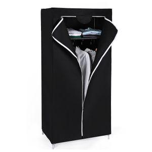 SONGMICS Stoffschrank Kleiderschrank mit Stange und Tür schwarz 160 x 75 x 45 cm Faltschrank Garderobe Campingschrank RYG83H