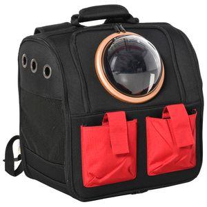 PawHut Haustier Rucksäcke mit transparentem Fenster faltbar Gepäckträger Transporttasche Oxford-Gewebe PE EVA Schwarz+Rot 38 x 24 x 38cm