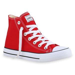 Mytrendshoe Damen High Top Sneakers Sportschuhe Stoffschuhe Kult 815214, Farbe: Rot Lucky, Größe: 42