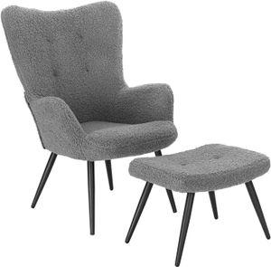 WOLTU Relaxsessel Lehnstühle Vintager Retro Sessel Polstersessel mit Hocker Fernsehsessel Sherpa Fleece Grau