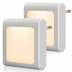 2 Stück LED Nachtlicht Lichtdetektor Notlicht Steckdose Steckdosenlicht Sensorlicht Warmweiß