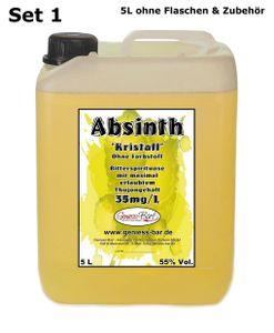 Absinth Gold Kristall 5 L ohne Farbstoff mit maximal erlaubtem Thujongehalt 35mg/L 55%Vol