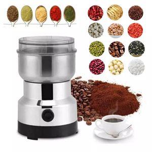 Elektrische 220-V-Edelstahlmühle, Mini-Kaffeebohnen-Nuss-Getreidemühle, Küchenzubehör für Nuss- und Gewürzmahlwerkzeuge