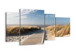 "Leinwandbild - 120x70 cm - ""Hinter der Düne, im Rascheln des Grases""- Wandbilder - Meer Strand Düne - Arttor - DL120x70-2657"