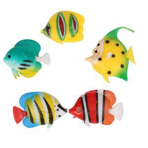 5x Kunststoff Künstliche Bunte Fische Deko Schwimmende Ornament für Aquarium Dekoration  Ca. 1,5 - 1,8 Zoll, zufällige Farbe Lieferung