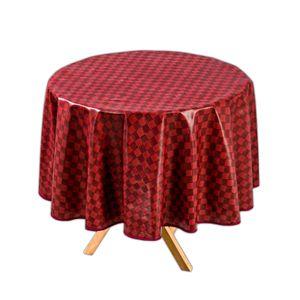 Tischdecke Rund Bordeaux Ø 140 cm Abwaschbar Wachstuch Gartentischdecke Wachstuchtischdecke Wachstischdecke