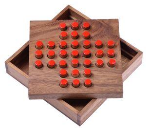 Solitär Gr. L - rote Stecker - Solitaire - Steckspiel - Denkspiel - Knobelspiel - Geduldspiel - Logikspiel aus Holz