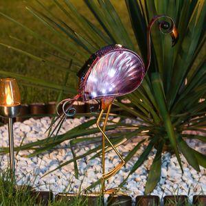 LED Solar Gartenfigur Flamingo - 10 kaltweiße LED - H: 48cm - Dämmerungssensor - rosa