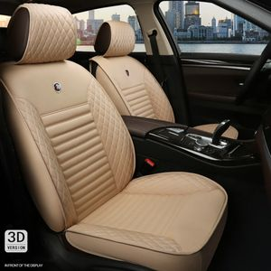 CAMTOA 5 Sitzer Sitzbezüge Auto Universal Autositzbezüge Kunstleder Vordersitze Sitzbezüge  beige Universal