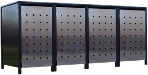 4x Premium 240 Liter Tailor Mülltonnenboxen Stanzung 2 Anthrazit Tür-Edelstahl