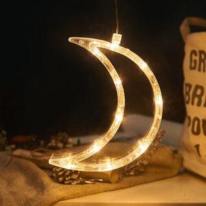 2 Stücke LED Mond Lichterkette Fensterlicht mit Saugnapf Für Party Weihnachten Hängende Fenster Deko