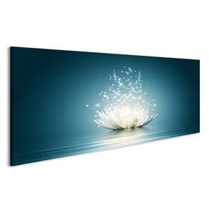 Bild Bilder auf Leinwand Magic Lotus Blume funkelnde Blüte Wandbild Leinwandbild Poster
