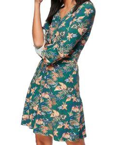 AjC Sommer-Kleid geblümtes Jersey-Kleid Damen Mini-Kleid mit Zier-Knopfleiste Grün, Größe:32