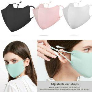 4 Stück Eisseide Stoff Gesichtsmaske Atmungsaktive Waschmaske Schutz für Frauen / Männer