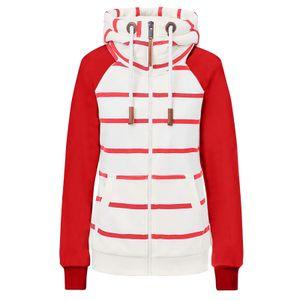 Damenmode Casual Stripe Print Reißverschluss Langarm Tasche loser Mantel Größe:L,Farbe:Rot