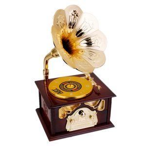 Retro Grammophon Muster Spieluhr Spieluhren Musik Box Schmuckkästchen