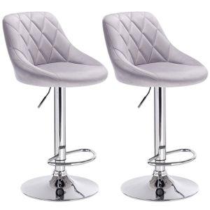WOLTU 2er-Set Barhocker Barstuhl mit gepolsterter Sitzfläche aus Samt , höhenverstellbar drehbar, Hellgrau