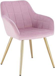 WOLTU Esszimmerstuhl Küchenstuhl Polsterstuhl Wohnzimmerstuhl Sessel mit Armlehne, Sitzfläche aus Samt, Gold Beine aus Metall, Rosa