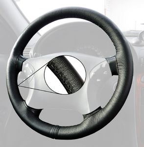 Lenkradhülle für VW T4 Naht schwarz Lenkradbezug LeCo® Echtleder Lenkrad Bezug
