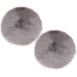 2er Pack weiche Schaffell flauschige Haut Kunstpelz gefälschte Teppich Matte kleine Teppiche grau