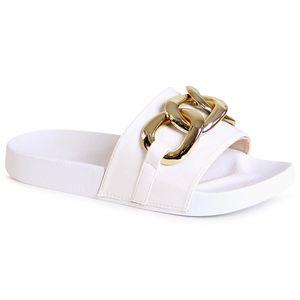 topschuhe24 2160 Damen Plateau Sandalen Pantoletten Ketten, Farbe:Weiß, Größe:40 EU