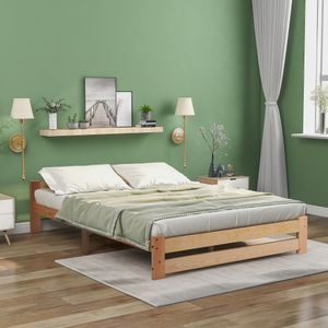 Merax Massivholzbett Futonbett 140 x 200 cm Doppelbett Kiefer Bett mit Kopfteil und Lattenrost, Bettgestell Bettrahmen aus Massivholz, Natur