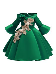Kinder Baby Mädchen Blumenkleid Prom Party Formale Hochzeit Brautjungfer Prinzessin Kleid,Farbe:  Grün,Größe:130 (6-7T)
