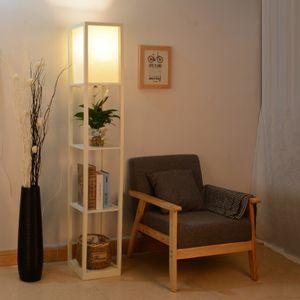 Puluomis Stehlampe mit Regal Holz LED E27 Innenbeleuchtung   Stehleuchte  für Schlafzimmer und Wohnzimmer  Weiß