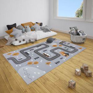 Kinderteppich Kurzflor Dream Street Grau Senfgelb, Größe:120x170 cm
