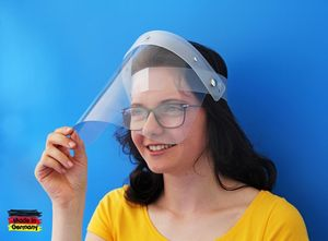 Gesichtsschutz Face Shield Behelfsgesichtsschutz aus Kunststoff universelle Passform hochklappbar  Germany
