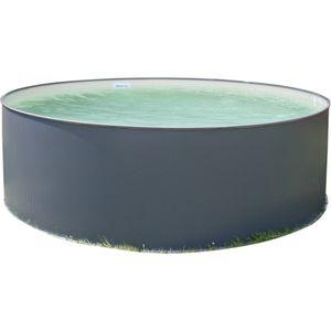 Stahlwandpool rundform Anthrazit 120 cm Tiefe - Innenhülle sandfarben - mit Skimmerstanzung Stahlwandpool rundform 300x120cm ANTHRAZIT