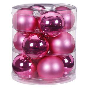 Weihnachtskugeln Glas 8cm, 12 Stück, Farbe:Jelly Pink - pink