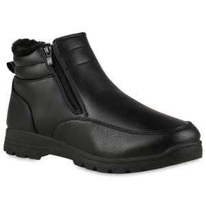 VAN HILL Herren Warm Gefütterte Winter Boots Stiefel Profil-Sohle Schuhe 837905, Farbe: Schwarz, Größe: 42