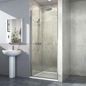 EMKE Duschtür 90 x 185 cm Pendeltür Nischentür Dusche Duschabtrennung Schwingtür aus 6mm ESG Sicherheitsglas mit Beidseitiger Nano Beschichtung