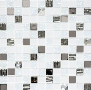 Mosaikfliese selbstklebend Transluzent Edelstahl weiß Glasmosaik Crystal Stahl weiß Glas MOS200-4CM24_f