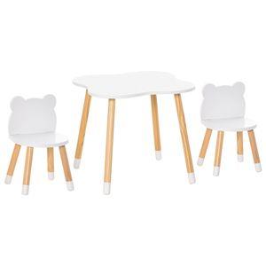 HOMCOM 3-teiliges Kindertisch-Set bogenförmige Kindersitzgruppe Tisch mit 2 Stühlen MDF Tischbeine aus Kiefernholz Weiß+Naturholz 56 x 56 x 50 cm