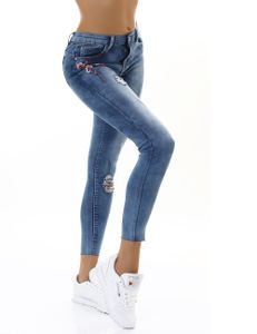 Skinny Ankle Röhren Jeans im Destroyed-Look mit Stickerei, Farbe: Blau, Größe: 38