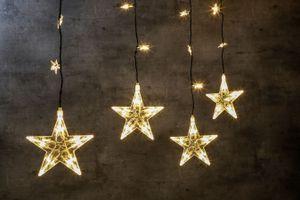 LED Sternenvorhang mit 100 warm-weiße LEDs