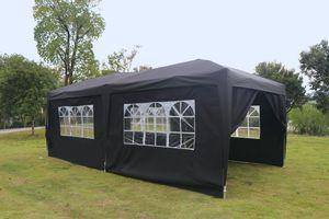 Kronenburg Faltpavillon WASSERDICHT Pavillion Gartenzelt Dachmaß 3x6m UV-Schutz schwarz mit 6 Seiten