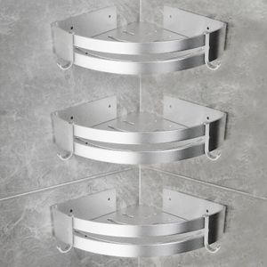 3 Stück Duschregal Eckablage Duschkorb Duschablagen Ohne Bohren Matte Aluminium