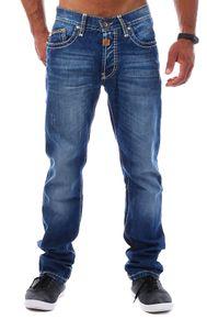 Cipo & Baxx Herren Denim Jeans Hose Kontrast Optik Nähte Vintage Look Straight Leg Cut Regular Fit C-0688, Grösse:W34/L32, Farbe:Dunkelblau