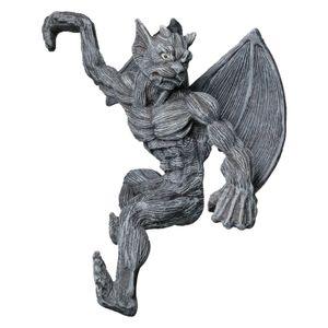 Harz Retro Monster Statue Dekoration Monster Skulptur mit Flügeln, Gotische Wasserspeier Teufel Harzskulptur Ornament Kunsthandwerk Zaun Garten Dekorationen