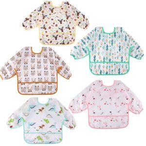 Baby Lätzchen mit Lange Ärmeln 5 Set Lätzchen Babylätzchen Wasserdicht Baby Bibs Set für 0-24 Monaten