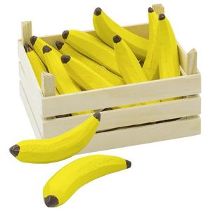 goki 51670 Bananen in Obstkiste, Holz, für Kaufladen, natur/gelb, 10-teilig (10er Pack)