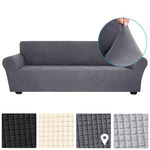 Decdeal Stretch Sofabezug Anti-Slip Soft Couch Sofabezug Waschbar fuer Wohnzimmer Kinder Haustiere 4 Sitz dunkelgrau