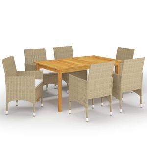 Gartenmöbel Essgruppe 6 Personen ,7-TLG. Terrassenmöbel Balkonset Sitzgruppe: Tisch mit 6 Stühle, Beige❀7549