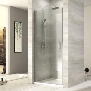 EMKE Duschtür 90 x 195 cm Pendeltür Nischentür Dusche Duschabtrennung Schwingtür aus 6mm ESG Sicherheitsglas mit Beidseitiger Nano Beschichtung