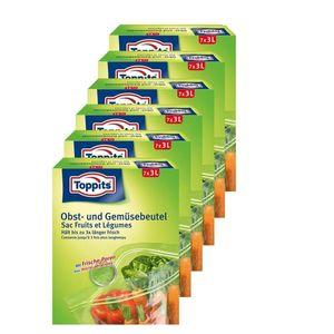 Toppits Obst- und Gemüse-Beutel 7x3Liter Hält biszu 3x länger frisch  (6er Pack