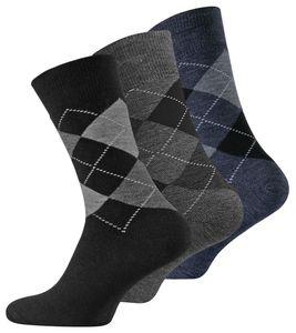 VCA® Thermo-Socken 3 Paar, im Karo-Design Schwarz/Grau/Blau 39-42